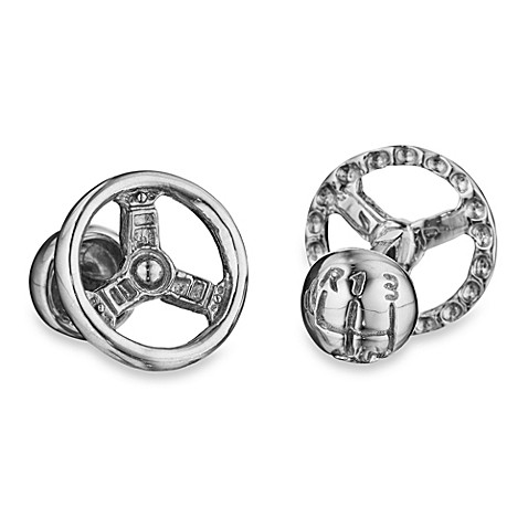 Robin Rotenier Sterling Silver Steering Wheel and Gear Knob Cufflinks