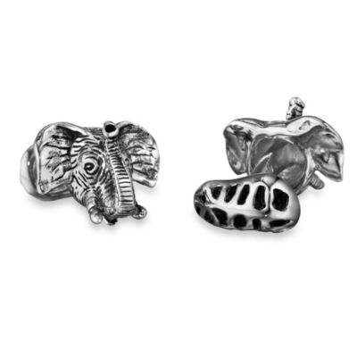 Robin Rotenier Sterling Silver Elephant Head and Peanut Cufflinks
