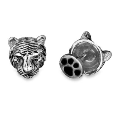 Robin Rotenier Sterling Silver Tiger Head and Paw Cufflinks