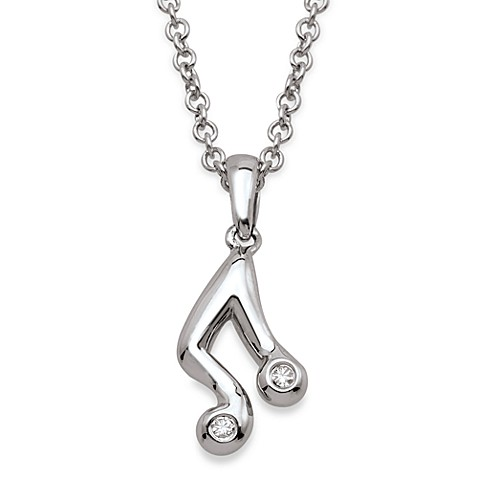 My First Diamond Sterling Silver and Round Diamond Music Note Pendant Necklace