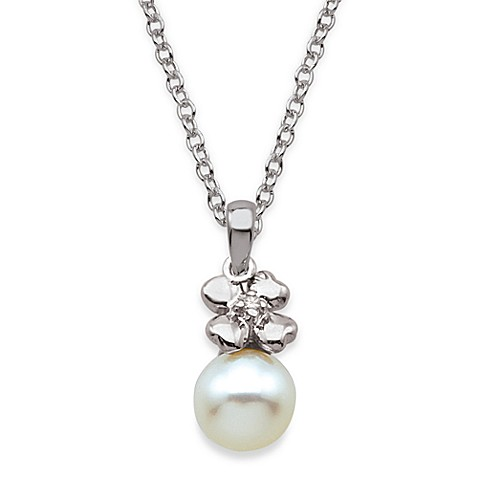 My First Diamond Sterling Silver and Freshwater Shell Pearl Flower And White Pearl Necklace
