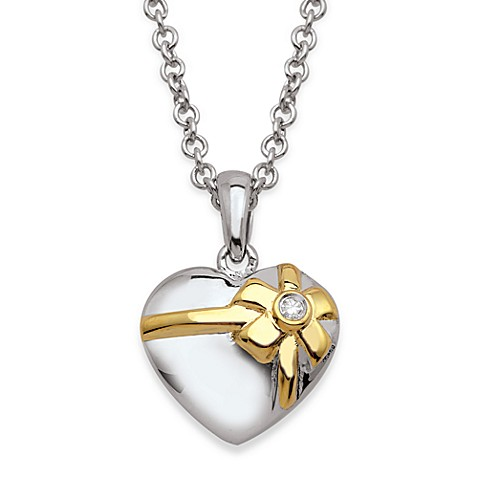 My First Diamond Sterling Silver and 18K Gold Diamond Gifted Heart Necklace