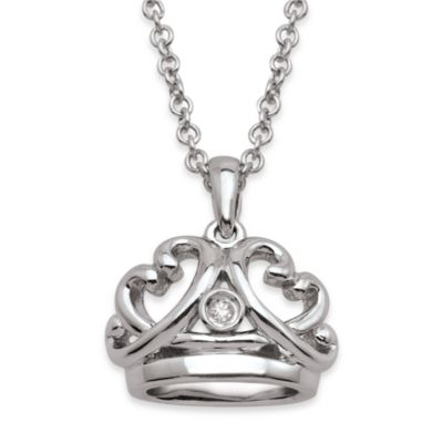 My First Diamond Sterling Silver .005 cttw Diamond Crown Necklace