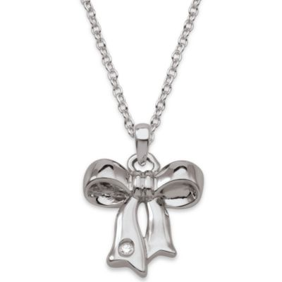 My First Diamond Sterling Silver .007 cttw Diamond Bow Necklace