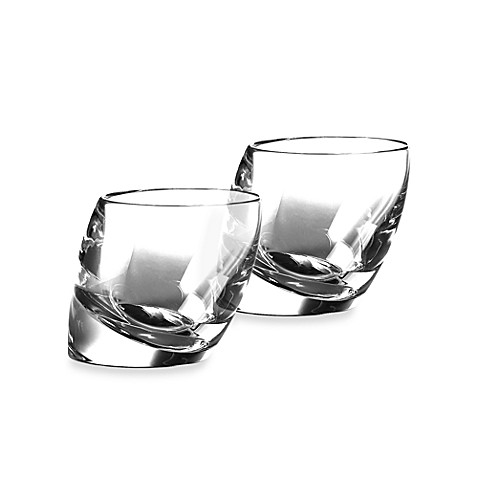 Nambe Tilt Crystal Double Old Fashioned Glasses (Set of 2)
