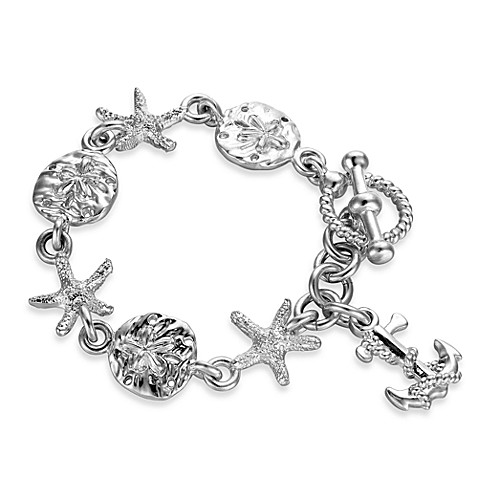 Arthur Court 7 1/2-Inch Starfish, Seashell & Anchor Bracelet