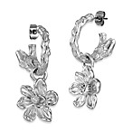 Arthur Court Carved Magnolia Dangle Hoop Earrings