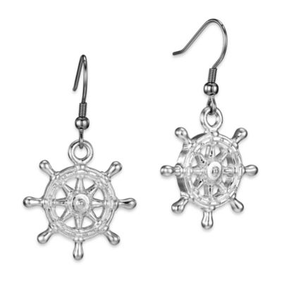 Arthur Court Sea and Lake Life Ship Wheel Earrings