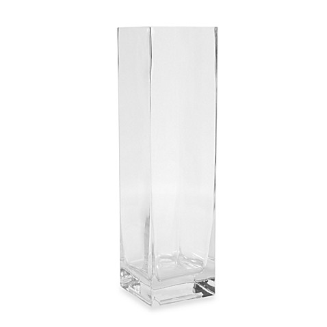 12-Inch Square Clear Glass Vase