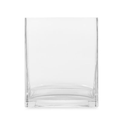 6-Inch Square Clear Glass Vase