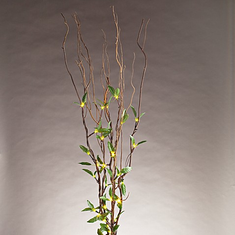39-Inch Brown Natural Willow Branches with Green Leaves and Battery Operated LED Lights