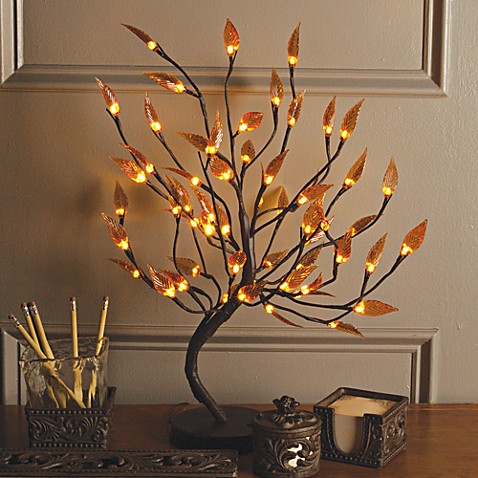 22 Inch Brown Wrapped Amber Leaf Led Lighted Tree Bed