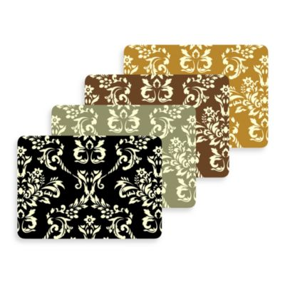Bungalow Flooring New Wave Damask Door Mat in Harvest Gold