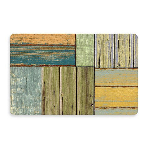 Bungalow Flooring New Wave 18-Inch x 27-Inch Patchwork Wood Door Mat
