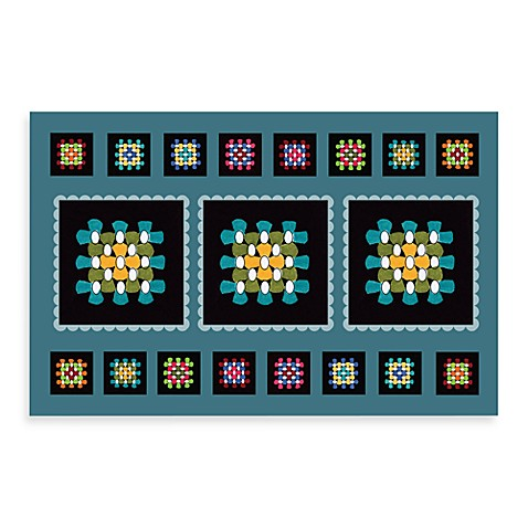 Bungalow Flooring New Wave 18-Inch x 27-Inch Black Squares Kitchen Door Mat