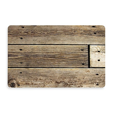 Bungalow Flooring New Wave 18-Inch x 27-Inch Rustic Wood Photo Kitchen Rug