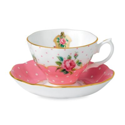 Royal Albert VintageTeacup & Saucer Set in Cheeky Pink