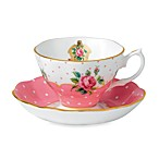 Royal Albert Vintage 6-Ounce Teacup & Saucer Set in Cheeky Pink