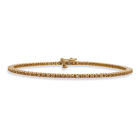 14K Yellow Gold Round 1.00 cttw Diamond Tennis Bracelet