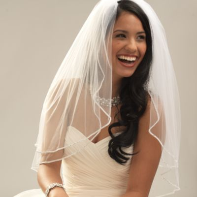 Crystal-Edge Fingertip-Length 2-Layer Bridal Veil in Ivory