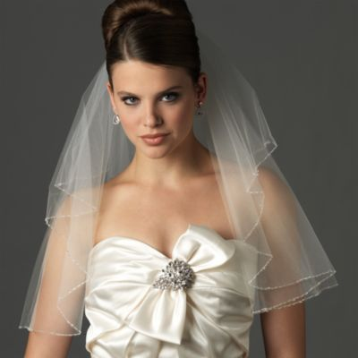 Swarovski Delicate Edge Shoulder-Length 2-Layer Bridal Veil in Diamond White