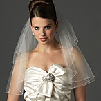 Swarovski Crystal White Tulle Delicate Edge 2-Layer Shoulder Veil