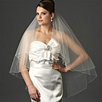image of Delicate Edge Fingertip-Length 2-Layer Veil in Ivory