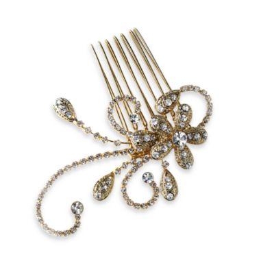 Swirli Rhinestone Gold Side Comb