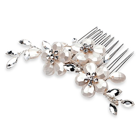 Frosted Bead And Rhinestone Vine Comb