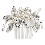 Tia Couture Rhinestone and Fresh-water Peals Floral Pattern Bridal Comb