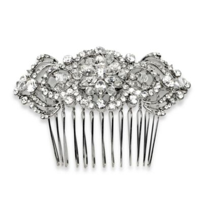 Selene Silver Plated Rhinestone and Swarovski Crystal Bridal Comb