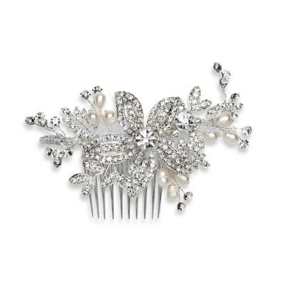 Pearl and Rhinestone Floral Beauty Side Comb