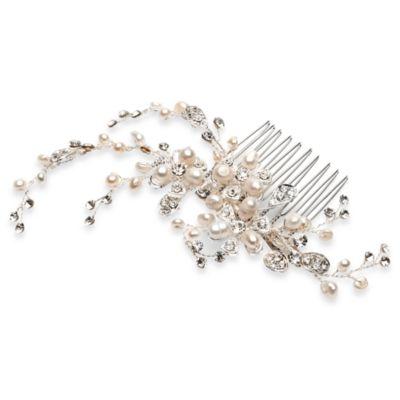 Angela Pearl Floral Bridal Comb