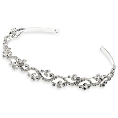 Sterling-Silver Plated Rhinestone Floral Garden Headband