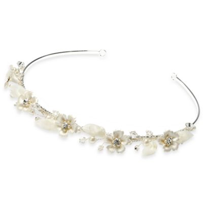 Pearl Flower White Wedding Tiara Headband