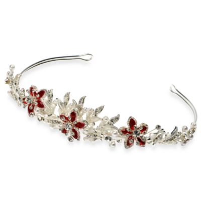 White Faux Pearl Austrian Rhinestone Floral Melody Red and Silver Tiara