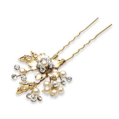 Fleur Rhinestone Gold-Colored Hair Pin