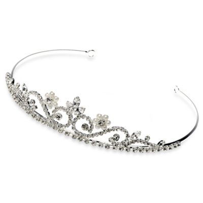USABride Rhinestone and Pearl Flower Tiara