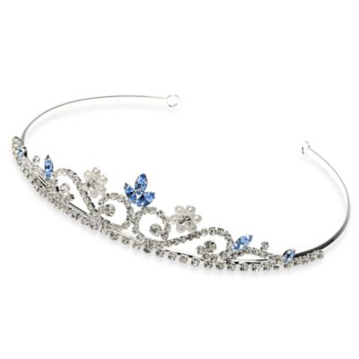 USABride Blue Rhinestone and Pearl Flower Tiara