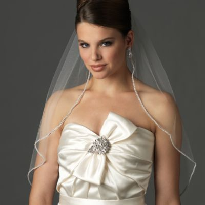 Rhinestone Edge Elbow Veil in White