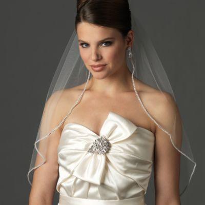 Rhinestone Edge Elbow-Length Bridal Veil in Ivory