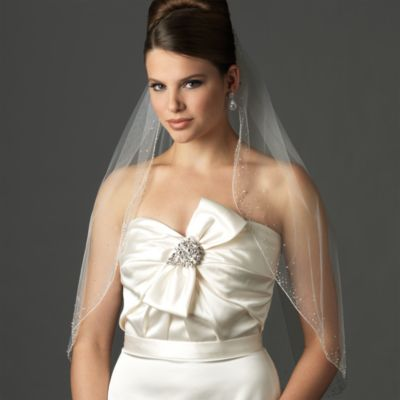 Crystal Elbow-Length Designer Bridal Veil in White