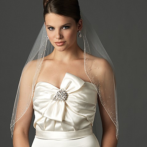 Swarovski Crystal and Bugle Bead Fingertip-Length Designer Bridal Veil in White
