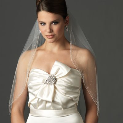 Swarovski Crystal and Bugle Bead Fingertip-Length Designer Bridal Veil in Diamond White