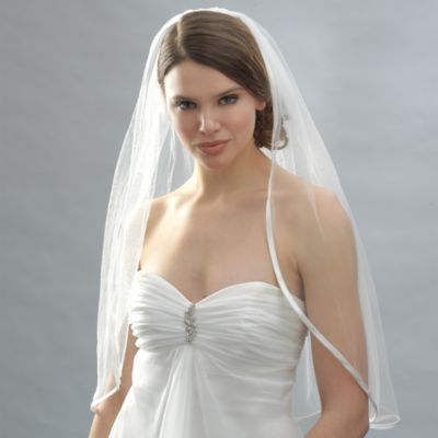 Ribbon Edge Elbow-Length Bridal Veil in White
