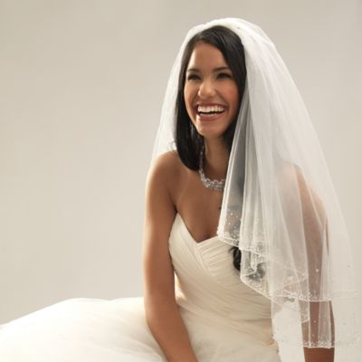 Swarovski Crystal Beaded Edge Elbow-Length 2-Layer Bridal Veil in White