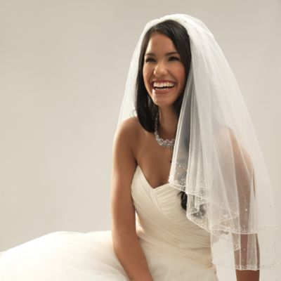 Swarovski Crystal Beaded Edge Elbow-Length 2-Layer Bridal Veil in Ivory