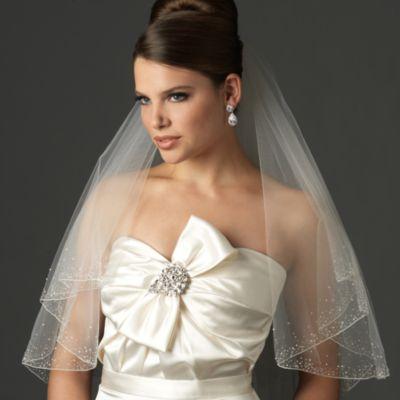 Swarovski Crystal Beaded Edge Fingertip-Length 2-Layer Bridal Veil in White