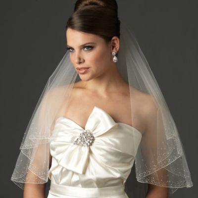 Swarovski Crystal Beaded Edge Fingertip-Length 2-Layer Bridal Veil in Ivory