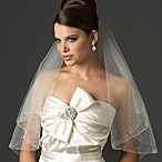 Swarovski Crystal 2-layer Beaded Edge Fingertip Ivory Bridal Veil